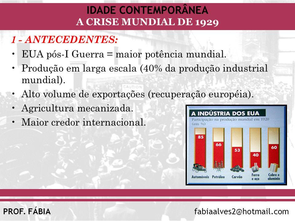1 - ANTECEDENTES: EUA pós-I Guerra = maior potência mundial. Produção em larga escala (40% da produção industrial mundial).