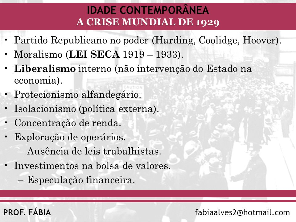 Partido Republicano no poder (Harding, Coolidge, Hoover).