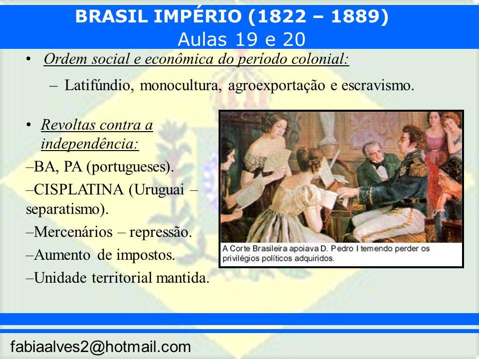 Aulas 19 e 20 Ordem social e econômica do período colonial: