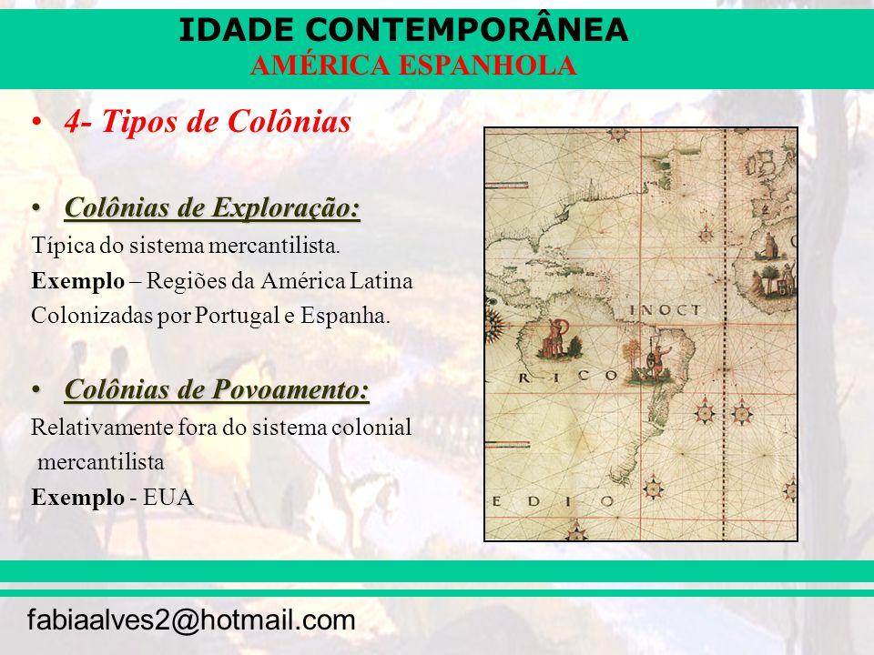 4- Tipos de Colônias Colônias de Exploração: Colônias de Povoamento: