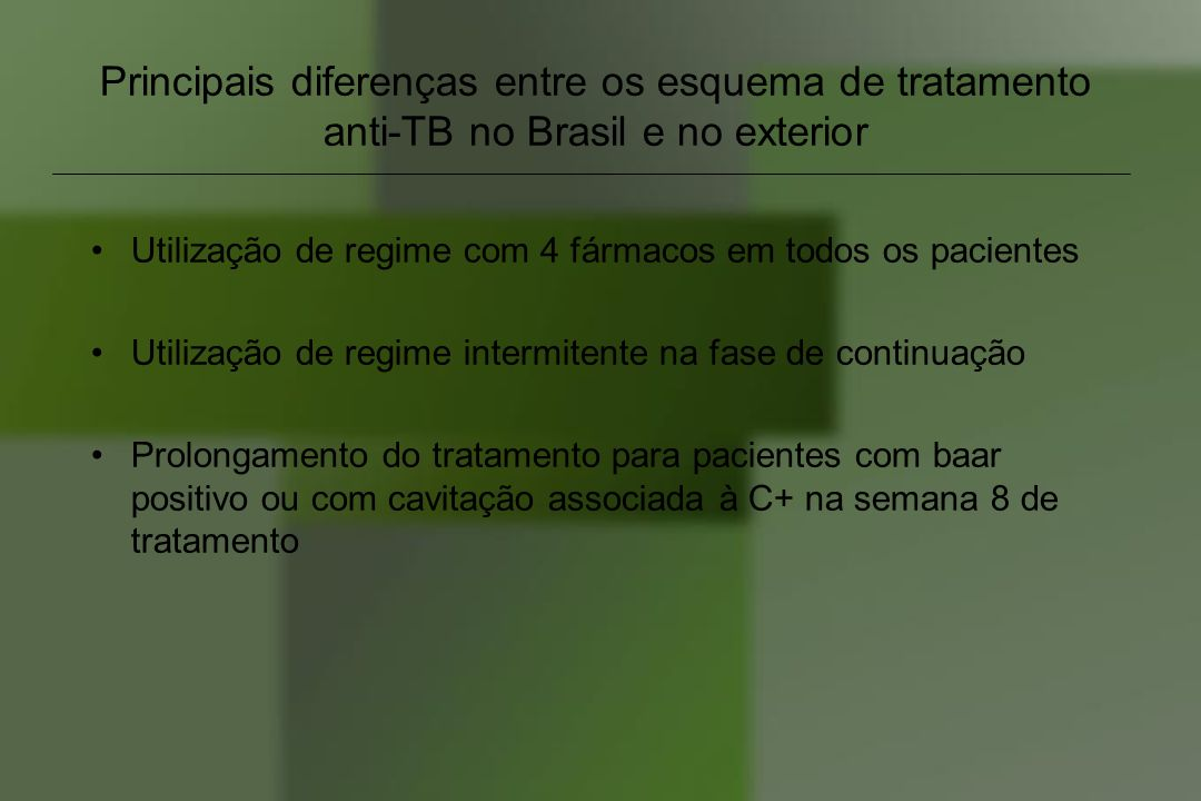 Principais diferenças entre os esquema de tratamento anti-TB no Brasil e no exterior