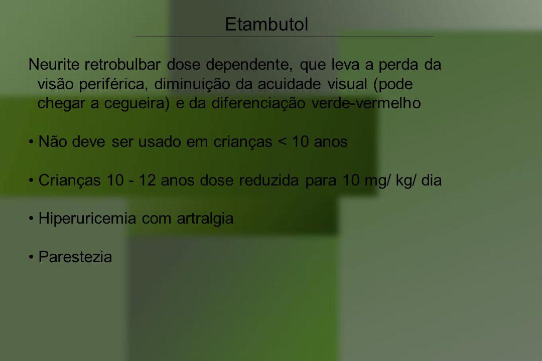 Etambutol Neurite retrobulbar dose dependente, que leva a perda da