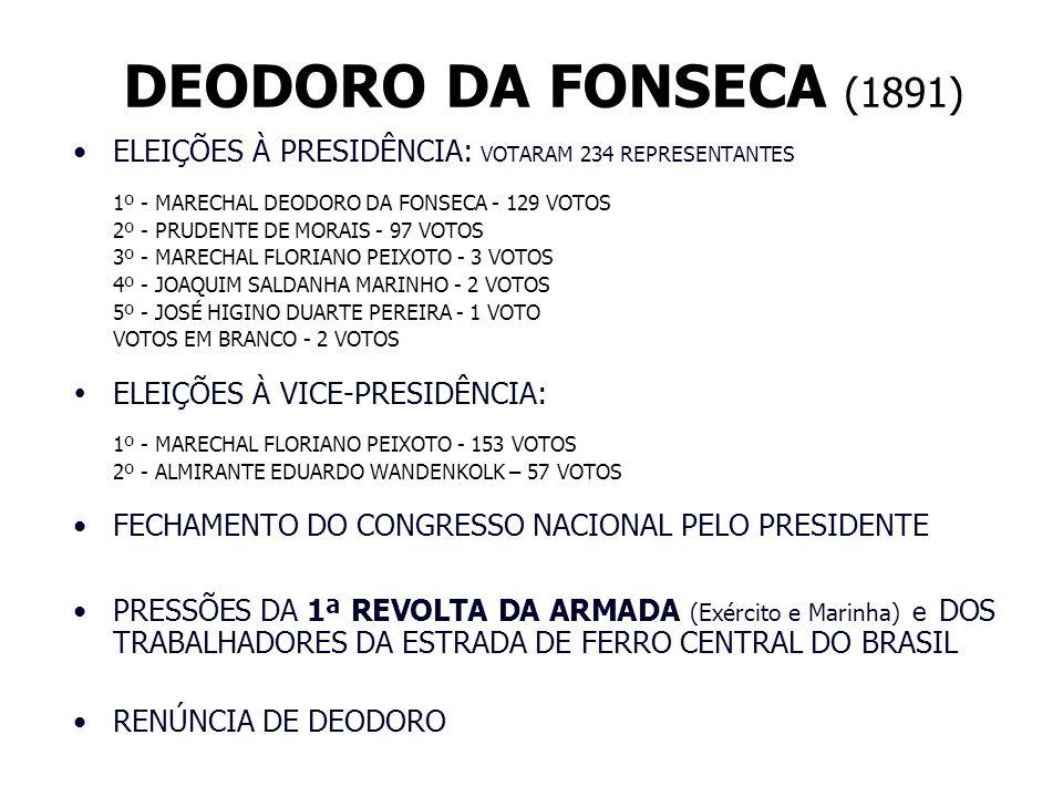 DEODORO DA FONSECA (1891) ELEIÇÕES À PRESIDÊNCIA: VOTARAM 234 REPRESENTANTES. 1º - MARECHAL DEODORO DA FONSECA - 129 VOTOS.