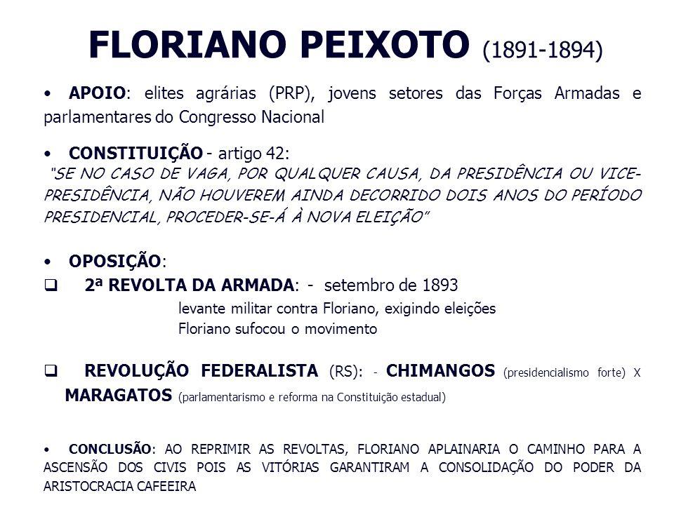 FLORIANO PEIXOTO (1891-1894)APOIO: elites agrárias (PRP), jovens setores das Forças Armadas e parlamentares do Congresso Nacional.