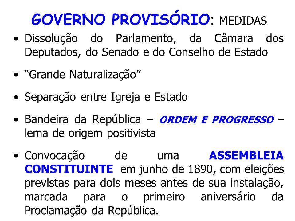 GOVERNO PROVISÓRIO: MEDIDAS