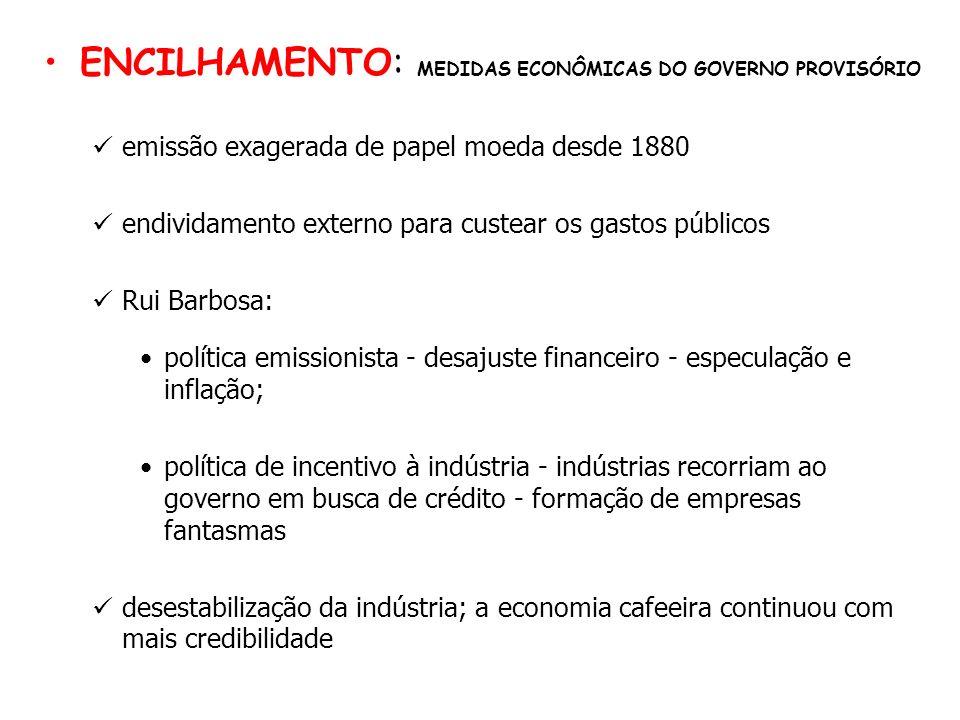ENCILHAMENTO: MEDIDAS ECONÔMICAS DO GOVERNO PROVISÓRIO