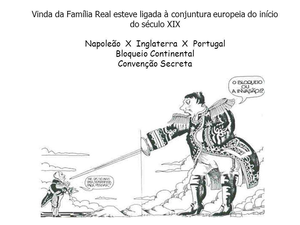 Vinda da Família Real esteve ligada à conjuntura europeia do início do século XIX Napoleão X Inglaterra X Portugal Bloqueio Continental Convenção Secreta