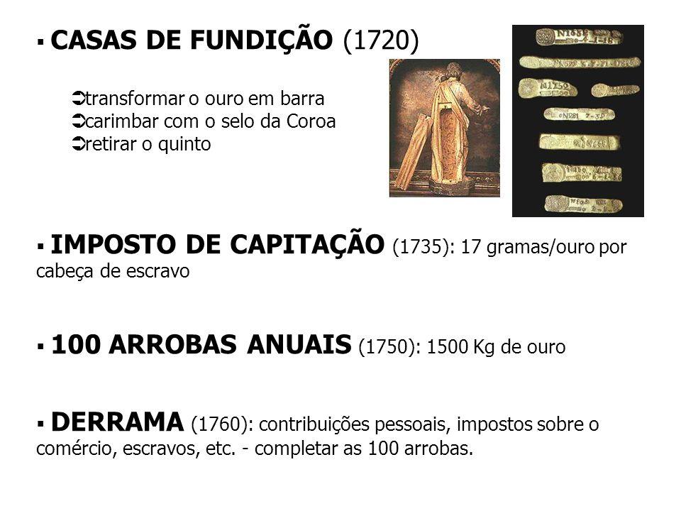 CASAS DE FUNDIÇÃO (1720) transformar o ouro em barra. carimbar com o selo da Coroa. retirar o quinto.