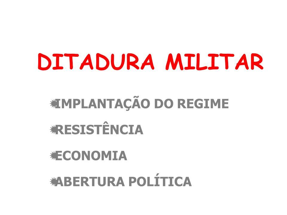 IMPLANTAÇÃO DO REGIME RESISTÊNCIA ECONOMIA ABERTURA POLÍTICA