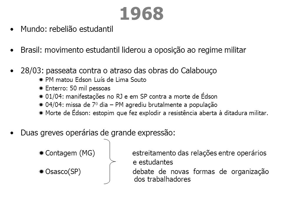 1968 Mundo: rebelião estudantil