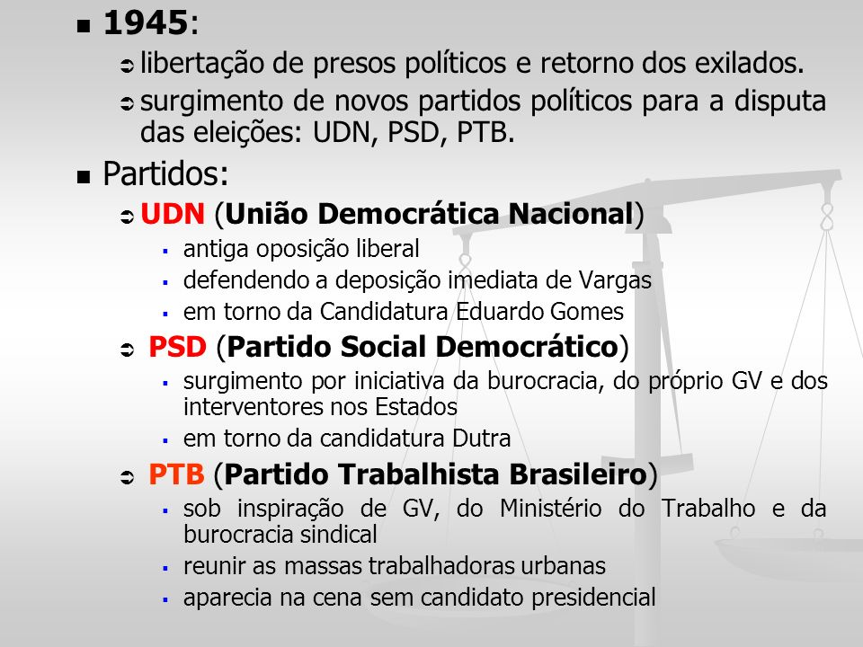 1945: Partidos: libertação de presos políticos e retorno dos exilados.