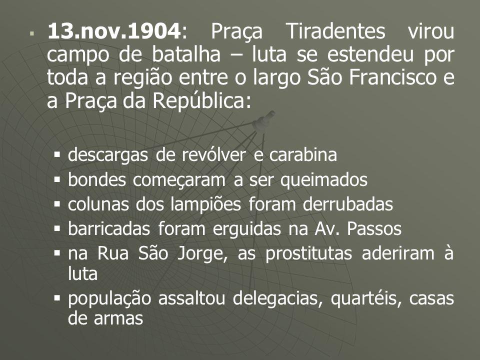 13.nov.1904: Praça Tiradentes virou campo de batalha – luta se estendeu por toda a região entre o largo São Francisco e a Praça da República: