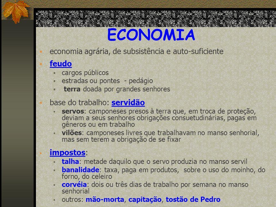 ECONOMIA economia agrária, de subsistência e auto-suficiente feudo