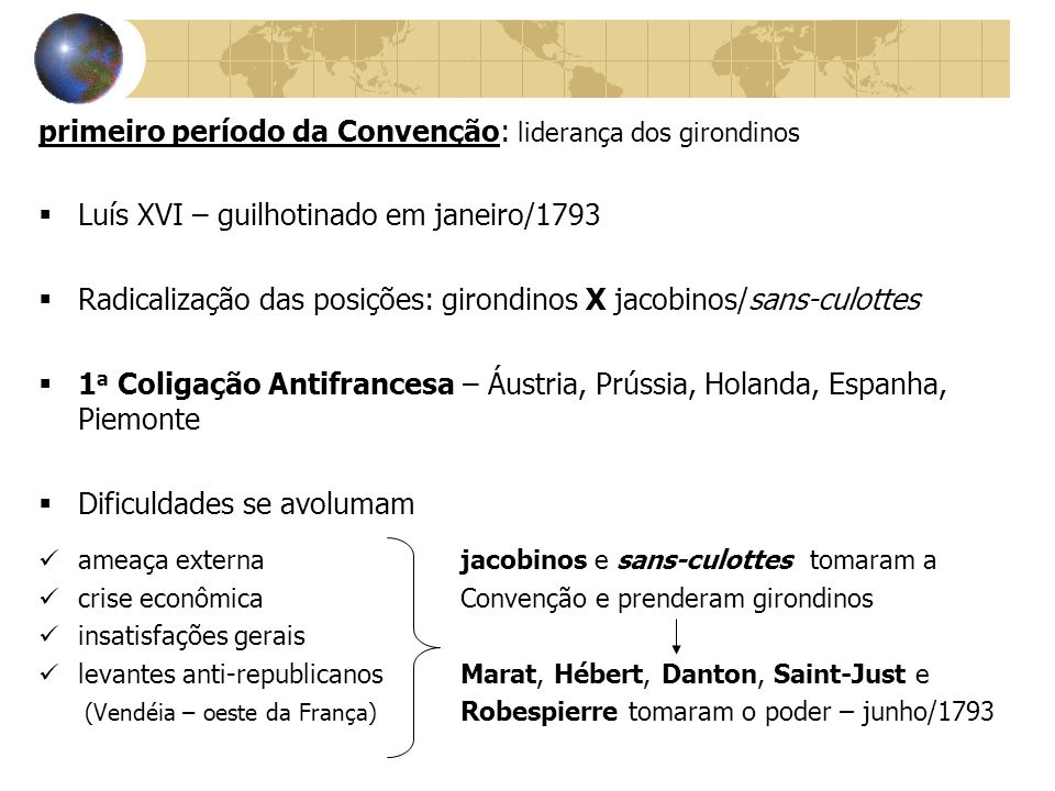 primeiro período da Convenção: liderança dos girondinos