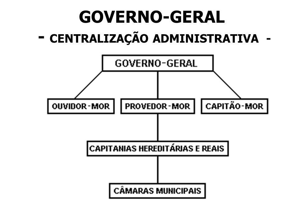 GOVERNO-GERAL - CENTRALIZAÇÃO ADMINISTRATIVA -