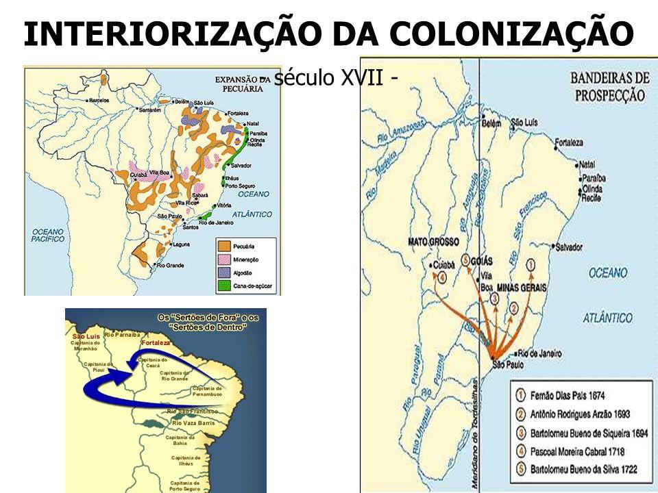 INTERIORIZAÇÃO DA COLONIZAÇÃO - século XVII -