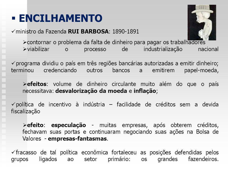 ENCILHAMENTO ministro da Fazenda RUI BARBOSA: 1890-1891