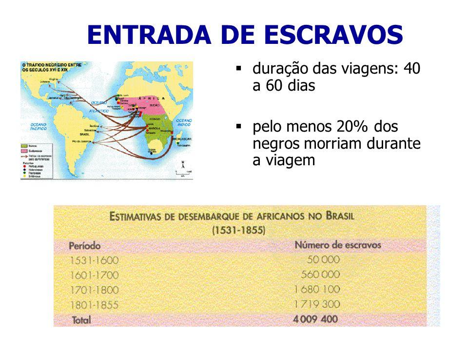 ENTRADA DE ESCRAVOS duração das viagens: 40 a 60 dias