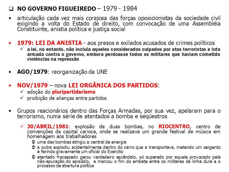 NO GOVERNO FIGUEIREDO – 1979 - 1984