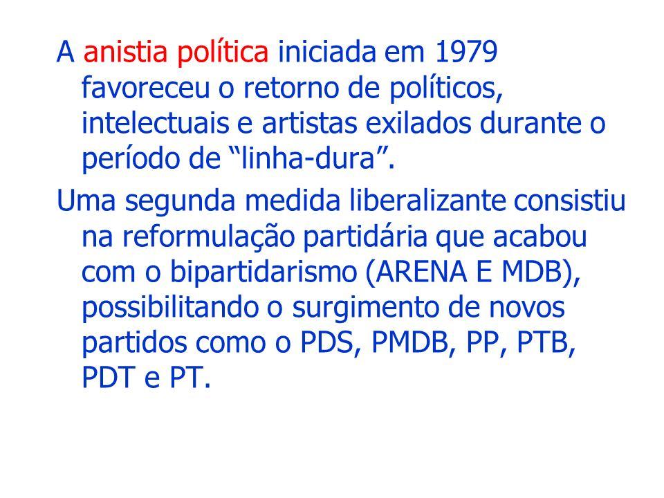 A anistia política iniciada em 1979 favoreceu o retorno de políticos, intelectuais e artistas exilados durante o período de linha-dura .