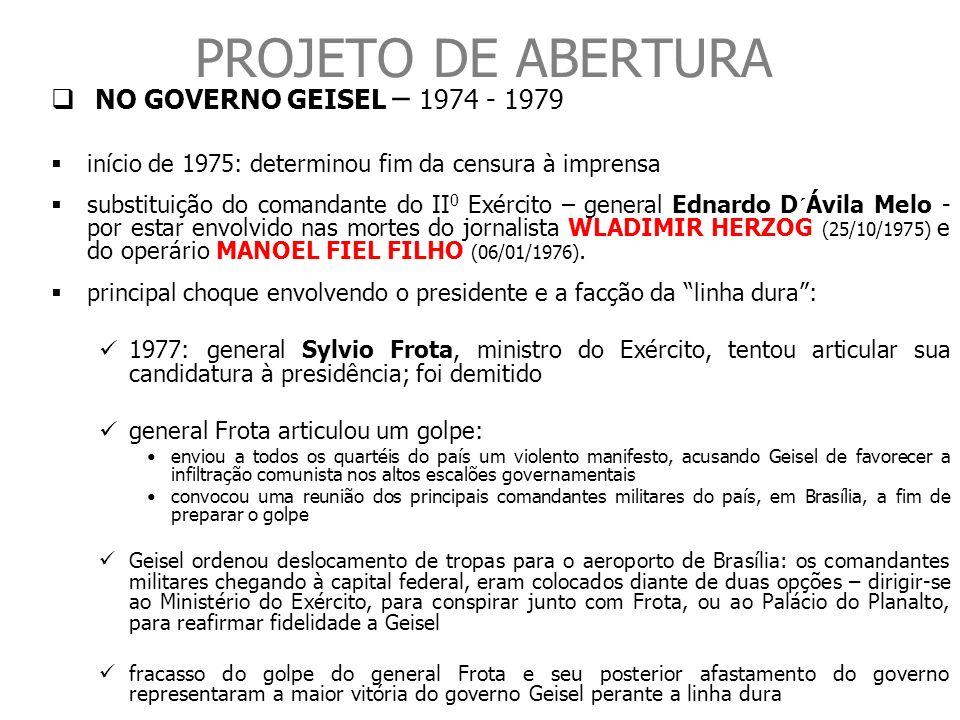 PROJETO DE ABERTURA NO GOVERNO GEISEL – 1974 - 1979