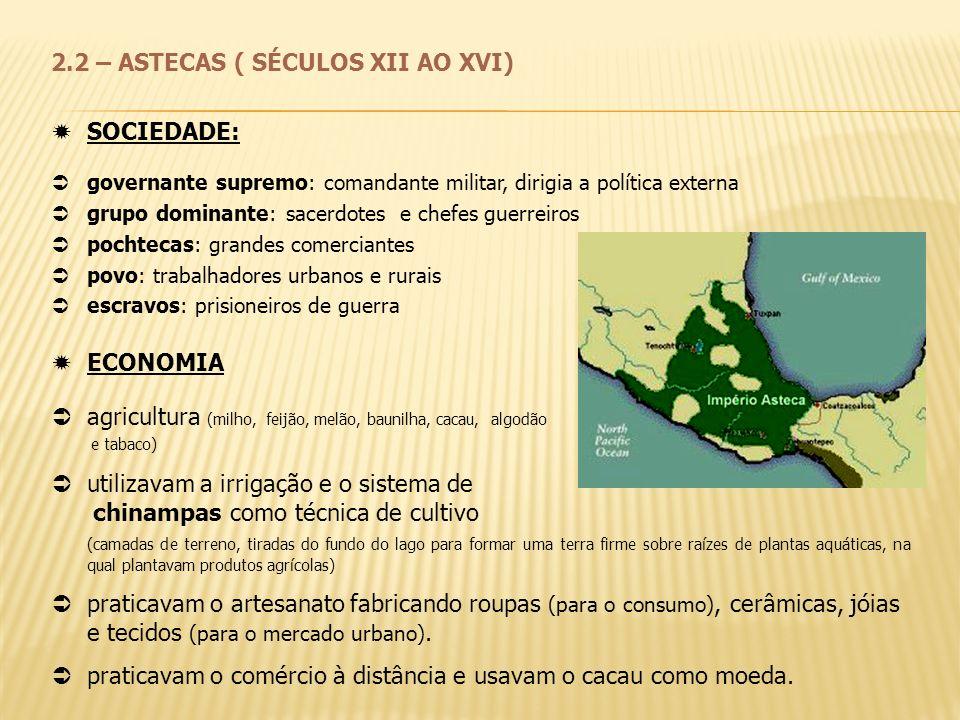 2.2 – ASTECAS ( SÉCULOS XII AO XVI) SOCIEDADE: