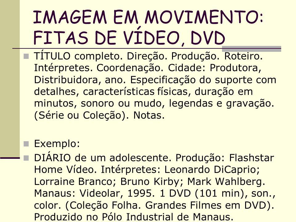 IMAGEM EM MOVIMENTO: FITAS DE VÍDEO, DVD