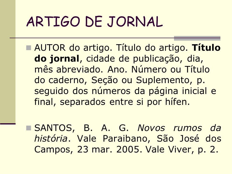 ARTIGO DE JORNAL