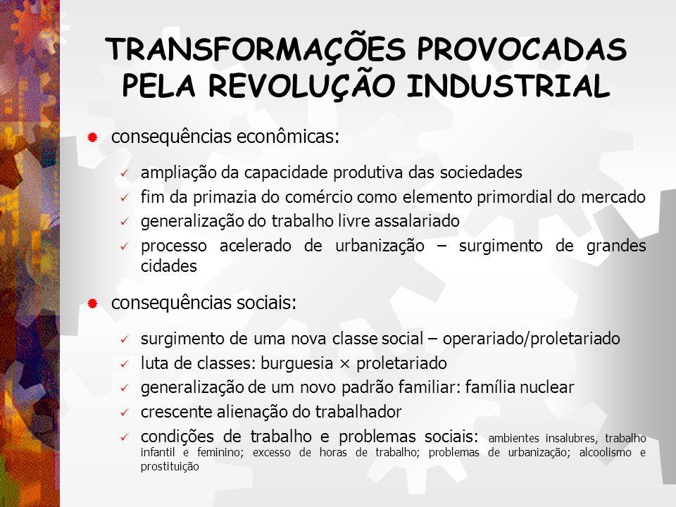 TRANSFORMAÇÕES PROVOCADAS PELA REVOLUÇÃO INDUSTRIAL