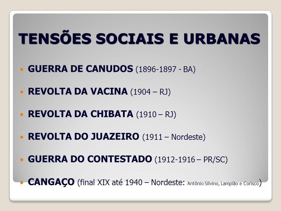 TENSÕES SOCIAIS E URBANAS