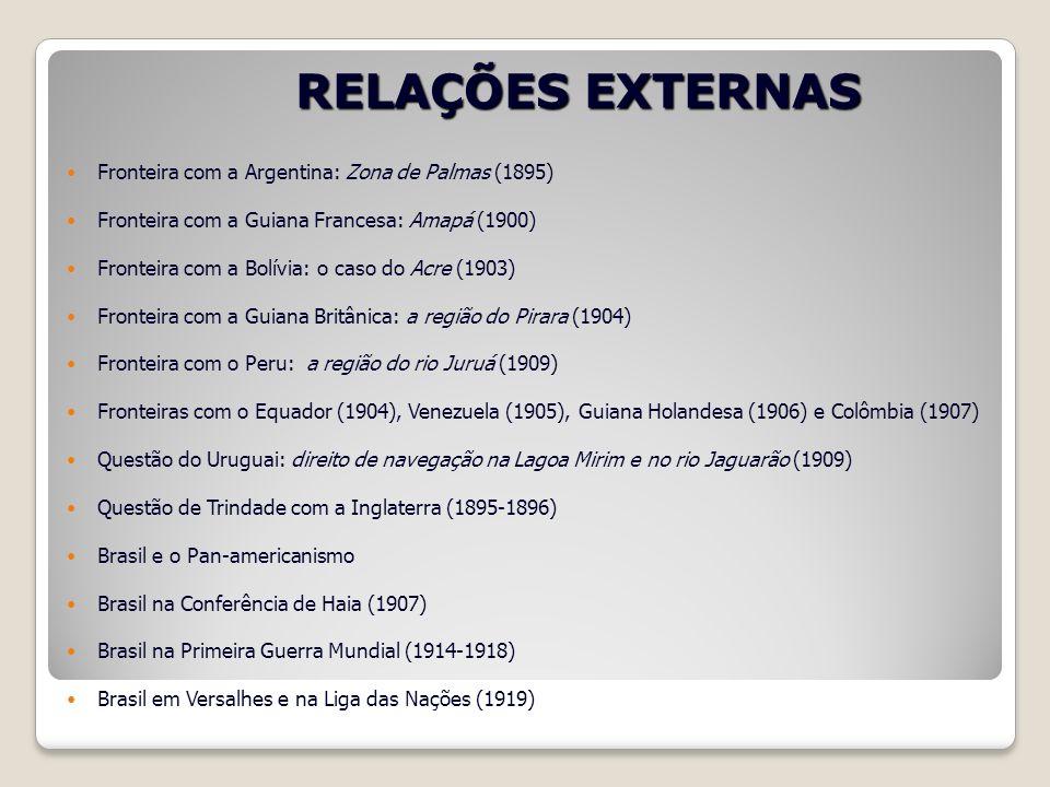 RELAÇÕES EXTERNAS Fronteira com a Argentina: Zona de Palmas (1895)