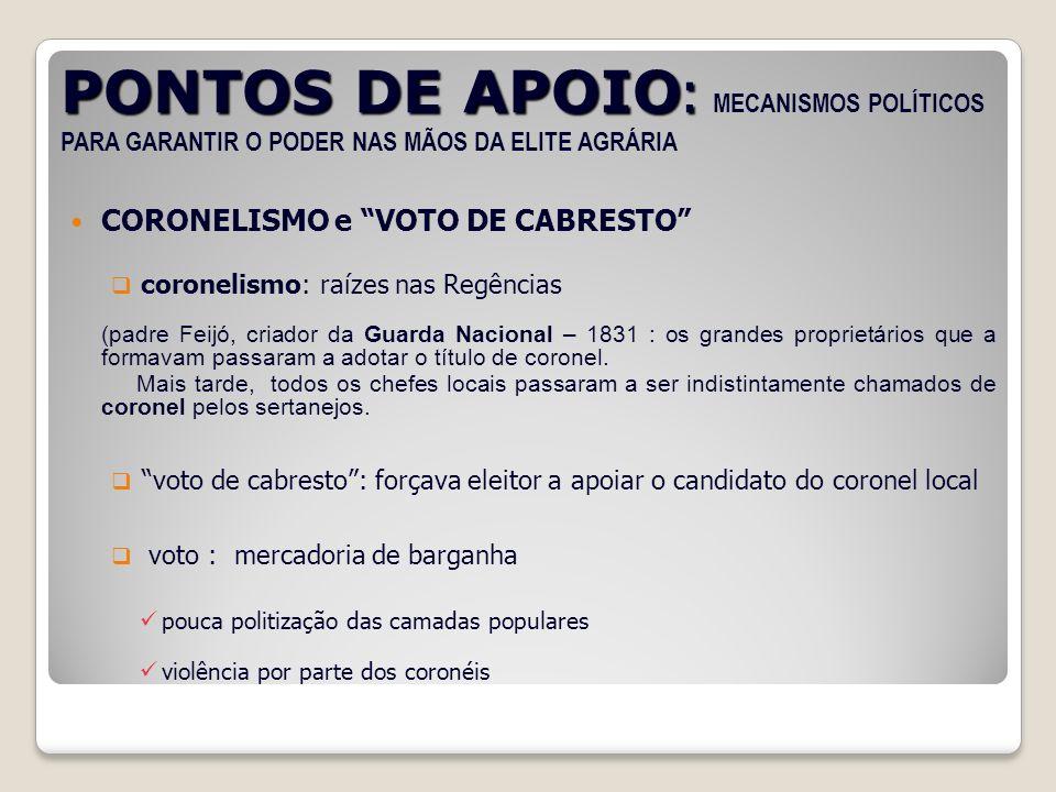PONTOS DE APOIO: MECANISMOS POLÍTICOS PARA GARANTIR O PODER NAS MÃOS DA ELITE AGRÁRIA