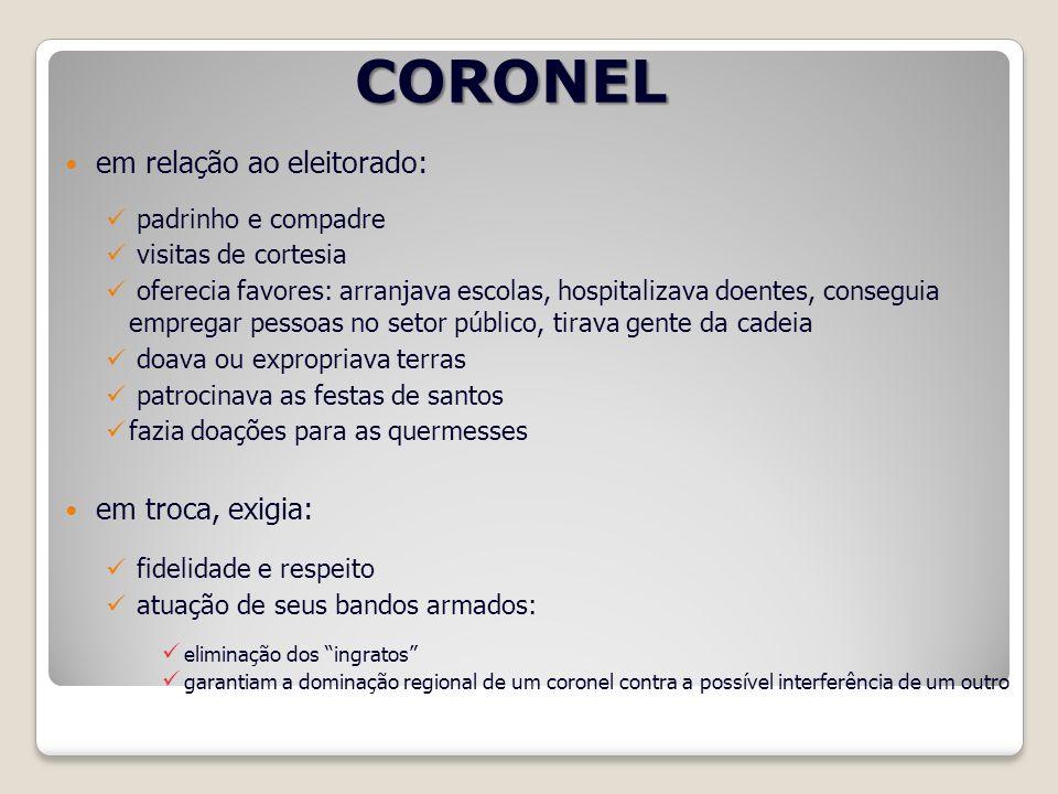 CORONEL em relação ao eleitorado: em troca, exigia: