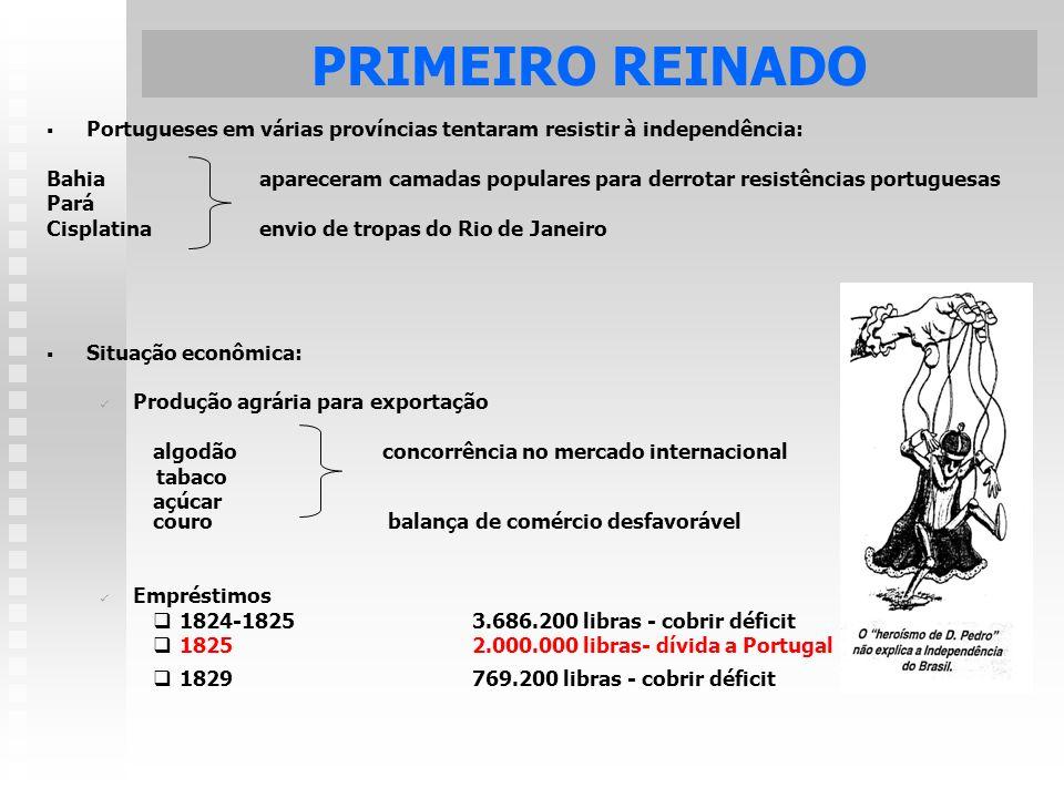 PRIMEIRO REINADO Portugueses em várias províncias tentaram resistir à independência: