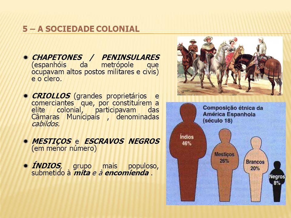 5 – A SOCIEDADE COLONIAL CHAPETONES / PENINSULARES (espanhóis da metrópole que ocupavam altos postos militares e civis) e o clero.
