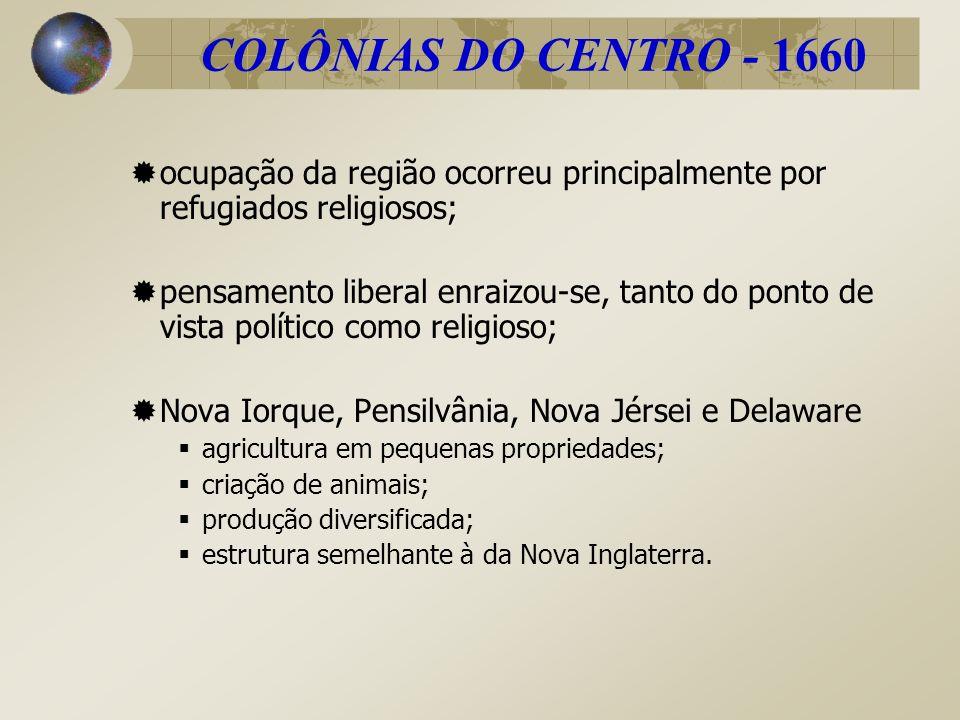 COLÔNIAS DO CENTRO - 1660 ocupação da região ocorreu principalmente por refugiados religiosos;