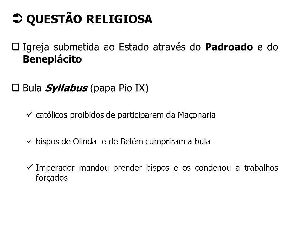 QUESTÃO RELIGIOSA Igreja submetida ao Estado através do Padroado e do Beneplácito. Bula Syllabus (papa Pio IX)