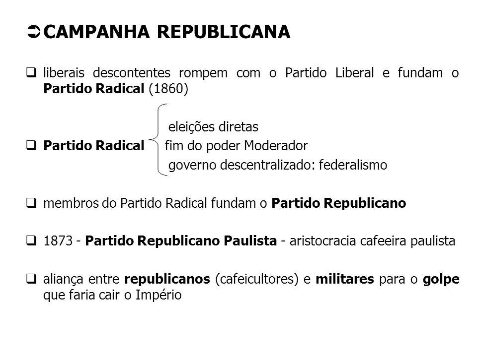 CAMPANHA REPUBLICANA liberais descontentes rompem com o Partido Liberal e fundam o Partido Radical (1860)