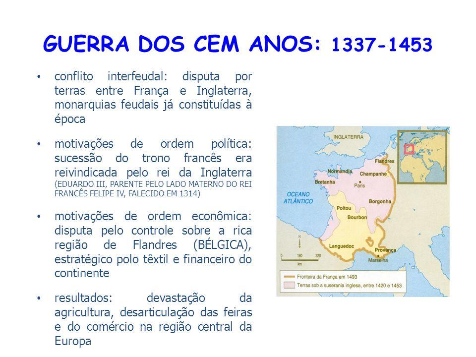 GUERRA DOS CEM ANOS: 1337-1453 conflito interfeudal: disputa por terras entre França e Inglaterra, monarquias feudais já constituídas à época.