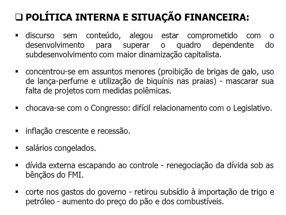 POLÍTICA INTERNA E SITUAÇÃO FINANCEIRA: