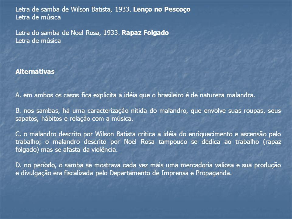 Letra de samba de Wilson Batista, 1933. Lenço no Pescoço