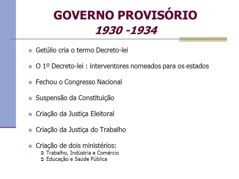 GOVERNO PROVISÓRIO 1930 -1934 Getúlio cria o termo Decreto-lei