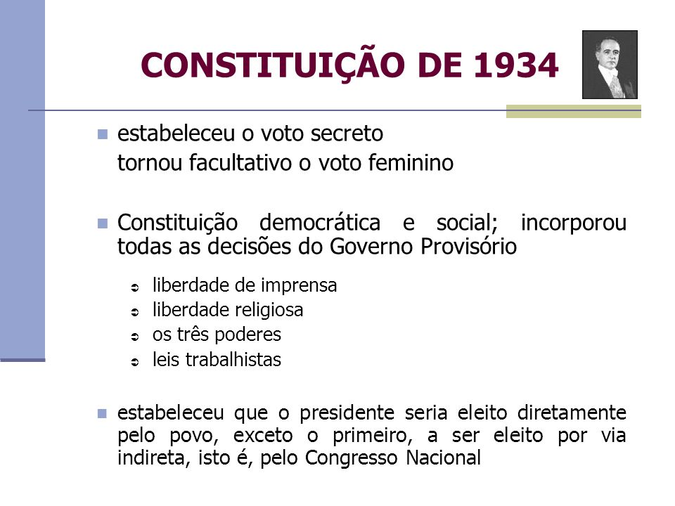 CONSTITUIÇÃO DE 1934 estabeleceu o voto secreto