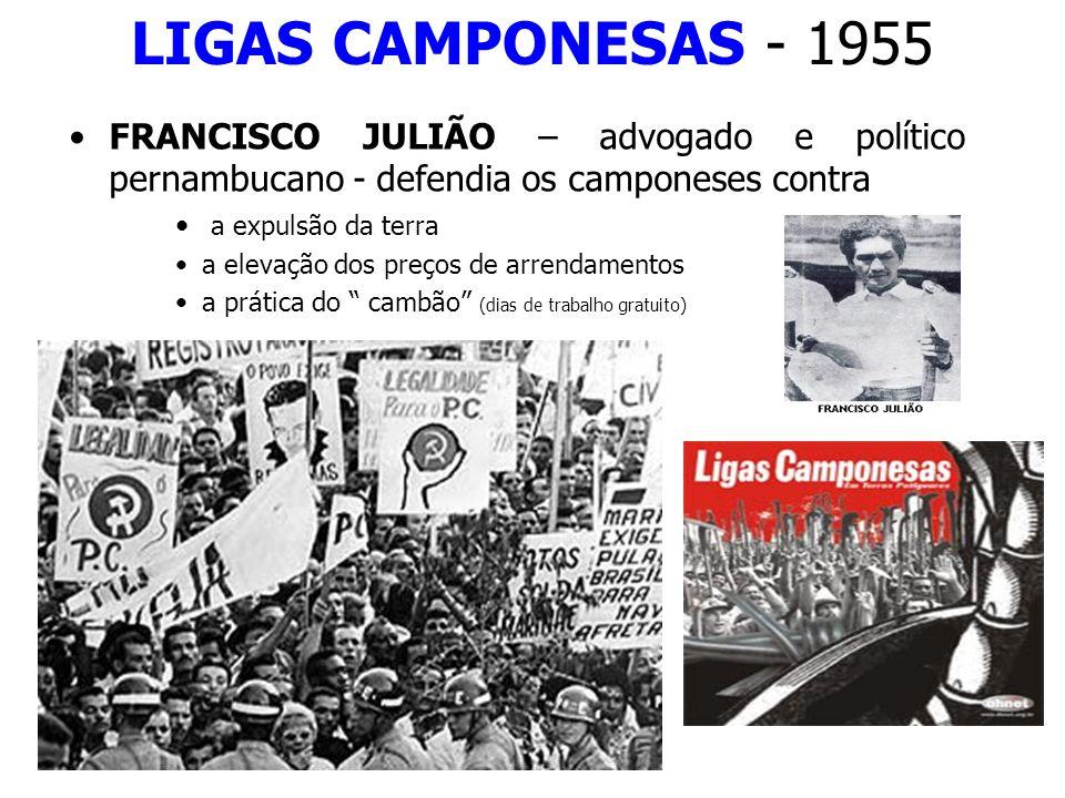 LIGAS CAMPONESAS - 1955 FRANCISCO JULIÃO – advogado e político pernambucano - defendia os camponeses contra.