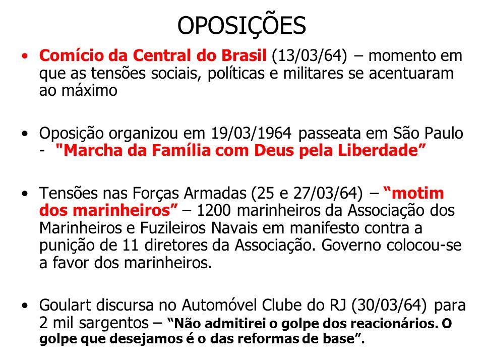 OPOSIÇÕES Comício da Central do Brasil (13/03/64) – momento em que as tensões sociais, políticas e militares se acentuaram ao máximo.