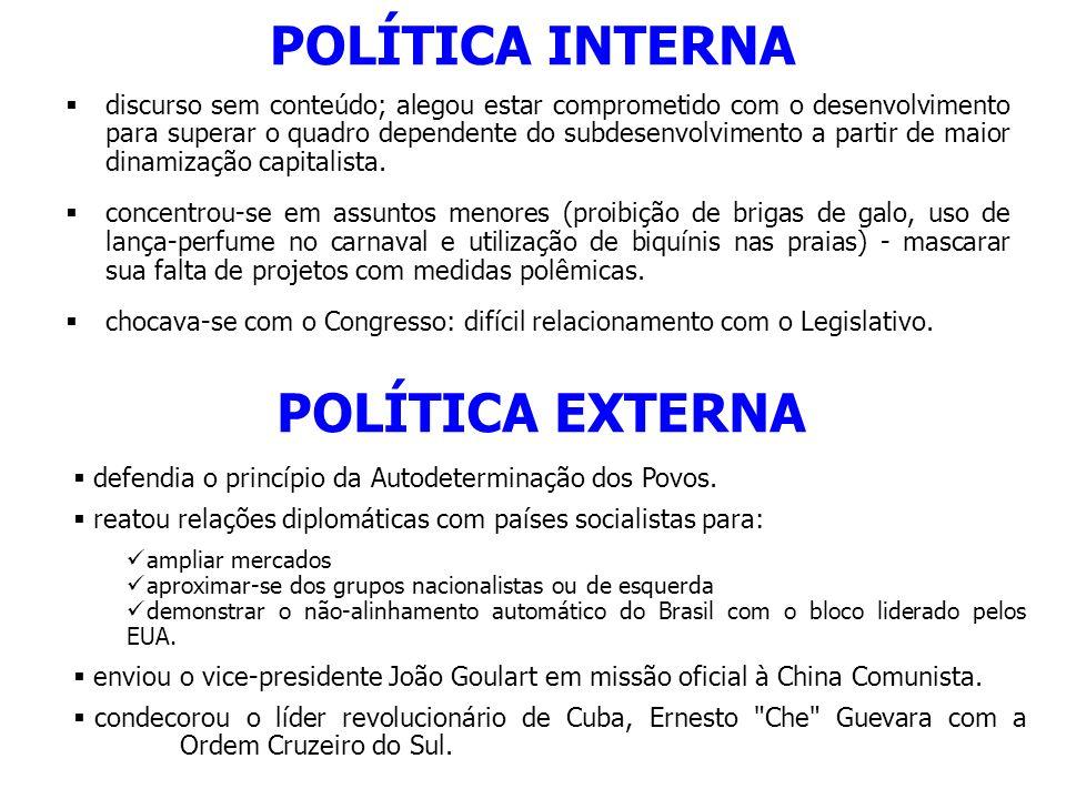 POLÍTICA INTERNA POLÍTICA EXTERNA