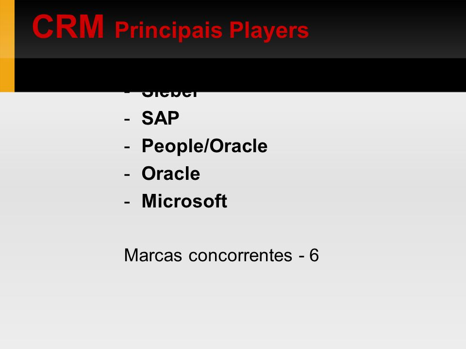 CRM Principais Players