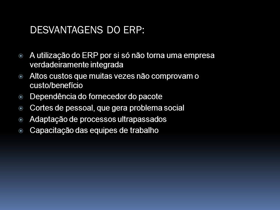 DESVANTAGENS DO ERP:A utilização do ERP por si só não torna uma empresa verdadeiramente integrada.