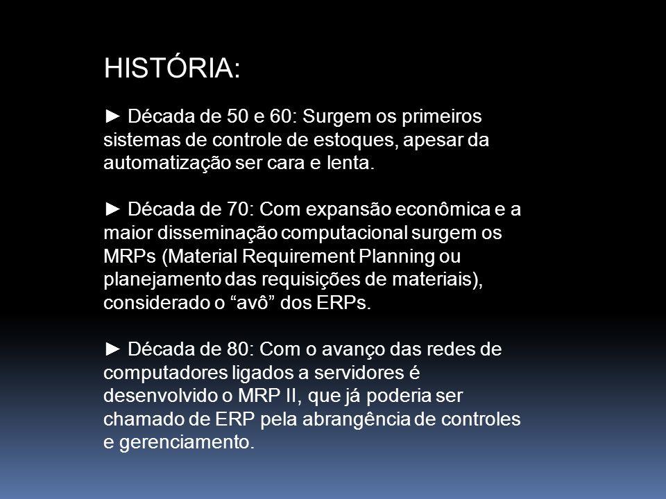 HISTÓRIA: ► Década de 50 e 60: Surgem os primeiros sistemas de controle de estoques, apesar da automatização ser cara e lenta.