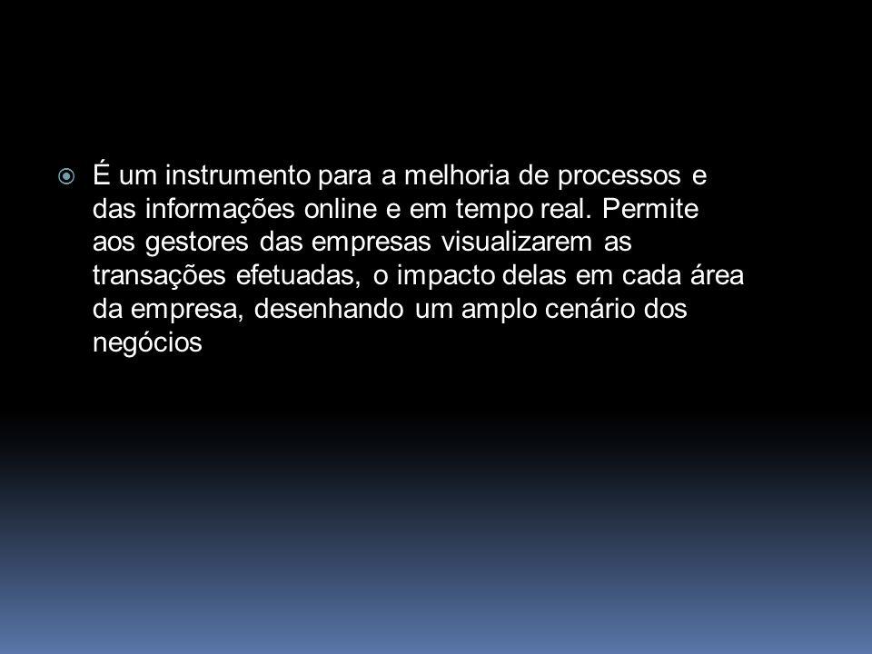 É um instrumento para a melhoria de processos e das informações online e em tempo real.
